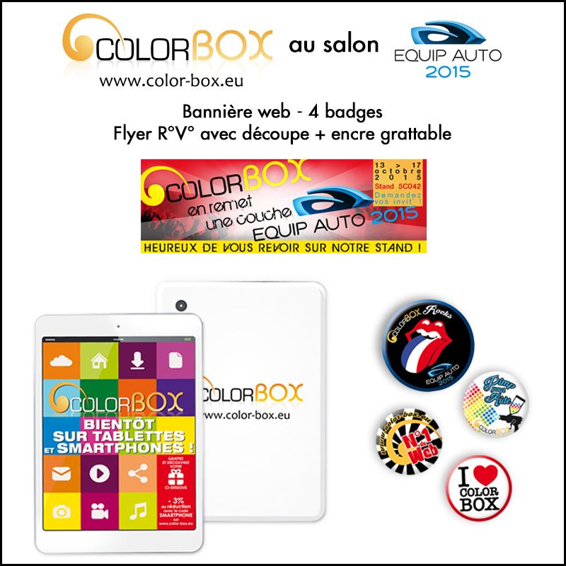 Colorbox au salon Equip\'Auto : bannière web, flyer et badges