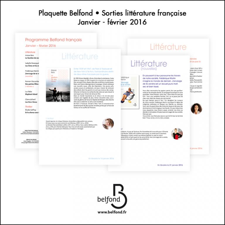 Création Plaquette Belfond // Sortie littéraire