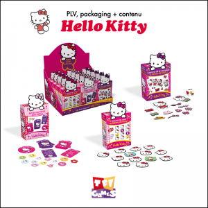 PLV, packaging, contenu de jeu Hello Kitty