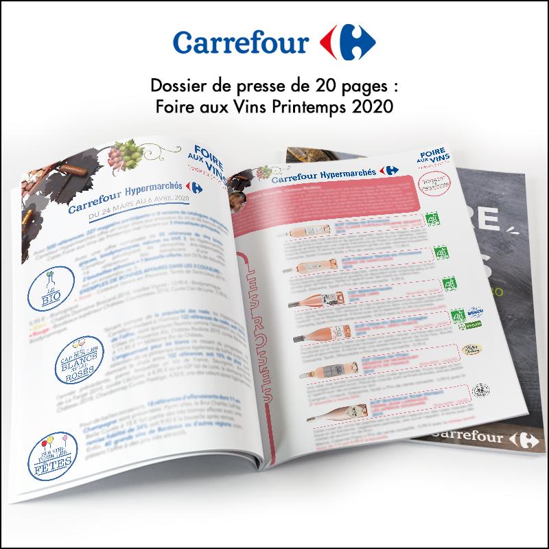Création de dossier de presse // Carrefour Foire aux Vins Printemps 2020